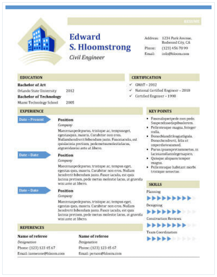 CV template for civil engineers for MS Word
