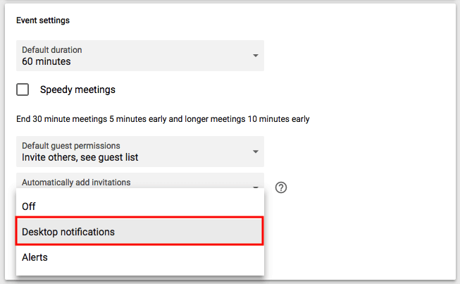 Dropdown menu to enable desktop notifications in Google Calendar