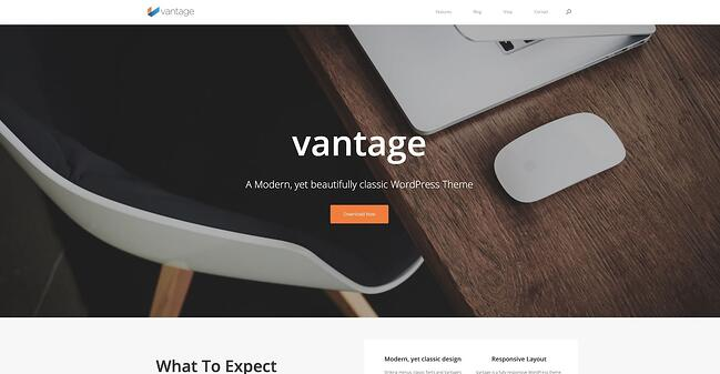 Vantage drag-and-drop theme demo website (home page)