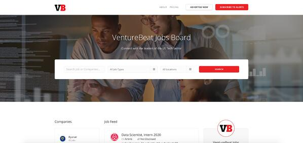 Venture Beat job board features marketing jobs in tech.