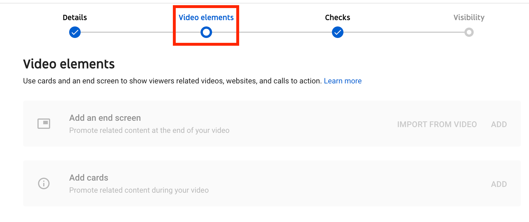 Youtube Creator Studio video editing page with video elements tab highlighted in red