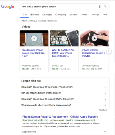 video carousel serp feature rich snippet showing results for how to fix an iphone screen