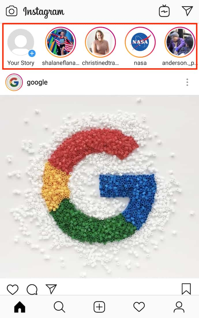 Instagram home screen with Google logo and series of Instagram Stories for viewing at the top