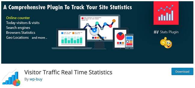 product page for the wordpress analytics plugin visitor traffic real time statistics