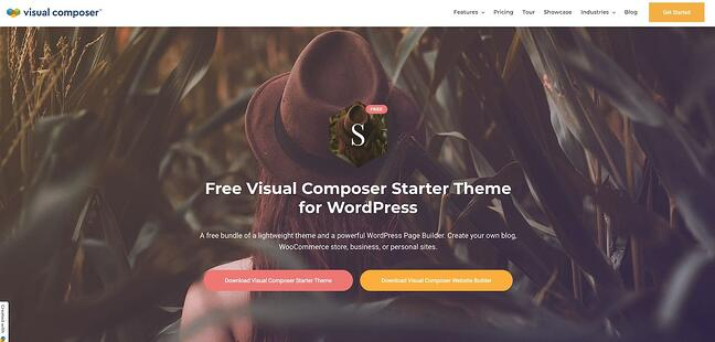 Visual Composer drag-and-drop theme landing page