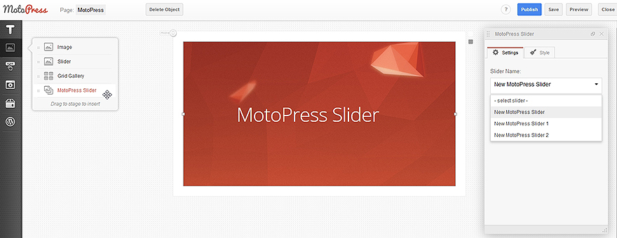 visual style builder feature in MotoPress slider plugin