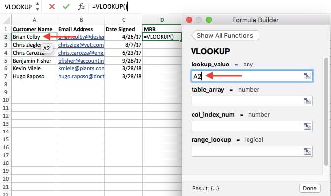 Lookup value in VLOOKUP formula builder in Excel