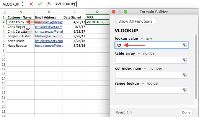 Lookup value in VLOOKUP formula builder in Excel