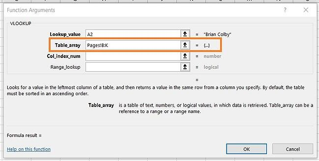 Using VLOOKUP: Designating Table Array