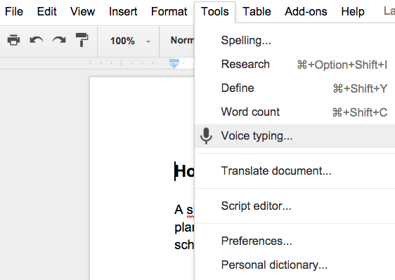 Voice typing option in a Google Doc