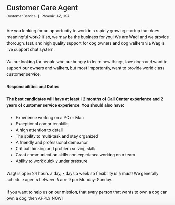 wag-customer-service-job-description