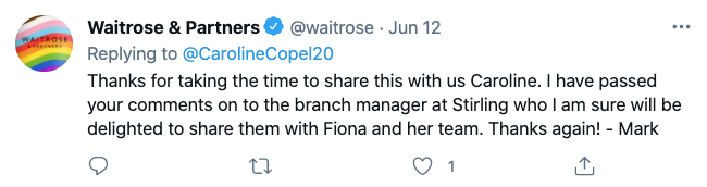 Waitrose's response to the positive customer care testimonial