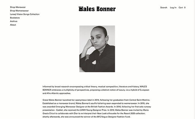 Company profile example: Wales Bonner
