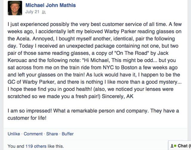 Warby Parker Facebook post by a customer who experienced superior customer service