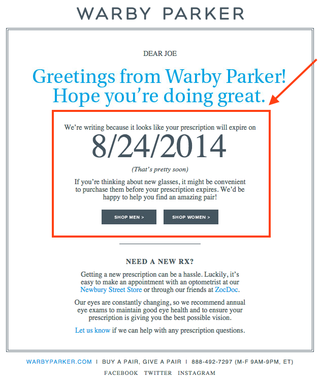 How to write a marketing email 10 tips for writing compelling email warby parker personalized emailg altavistaventures Gallery