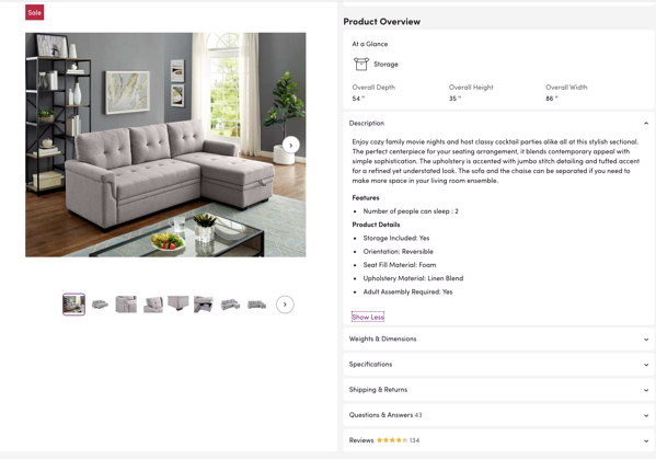 Wayfair product description for a sofa.