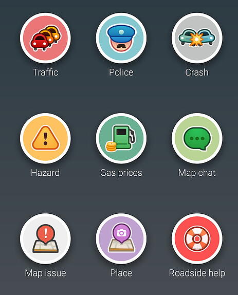 colored and filled waze app icons