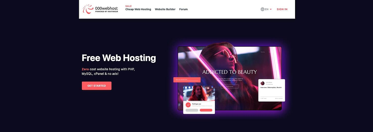 homepage for the web hosting provider 000webhost