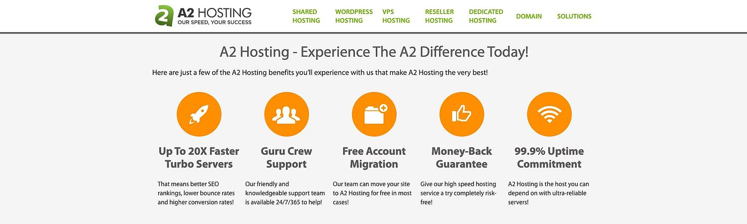 homepage for the web hosting provider A2 hosting