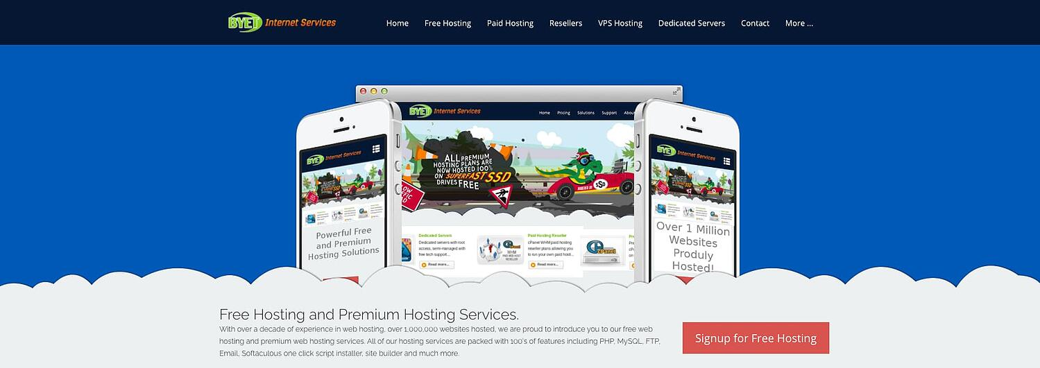 homepage for the web hosting provider byethost