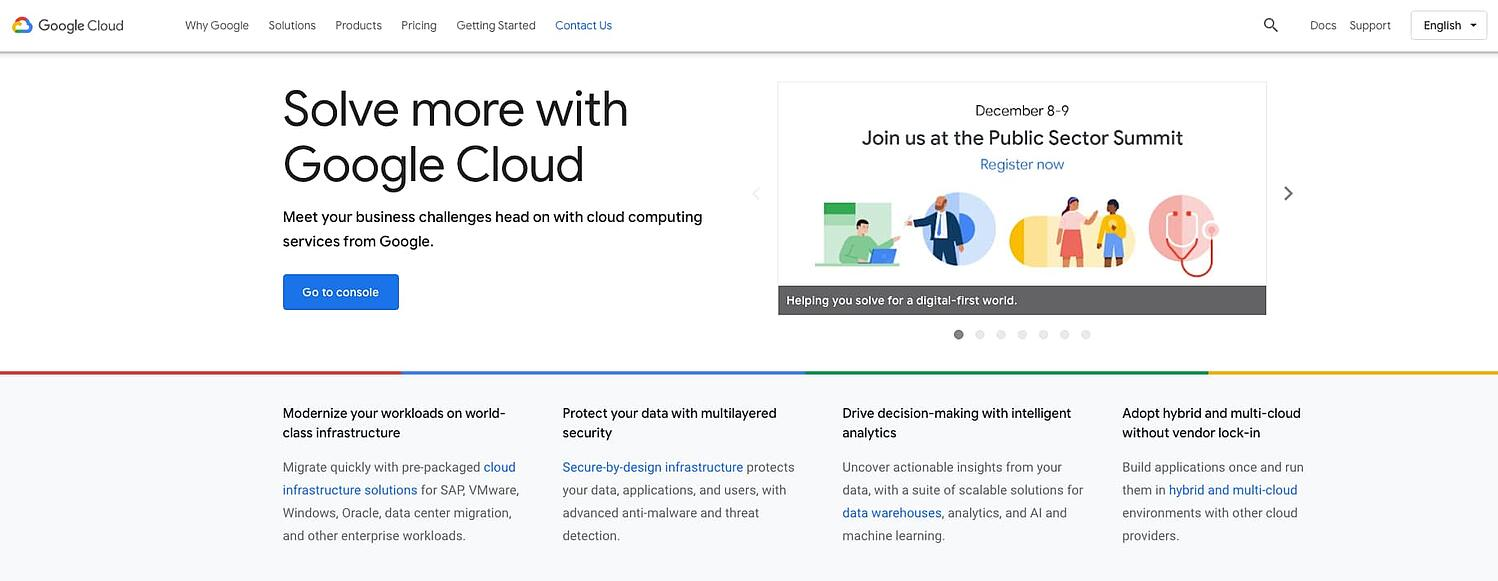 homepage for the web hosting provider Google Cloud