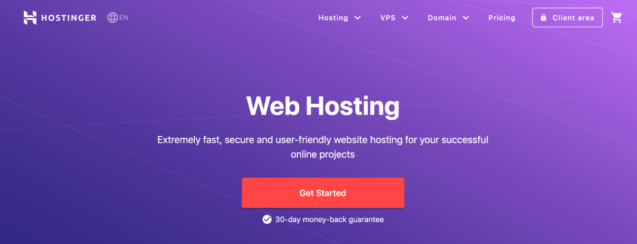 homepage for the web hosting provider Hostinger