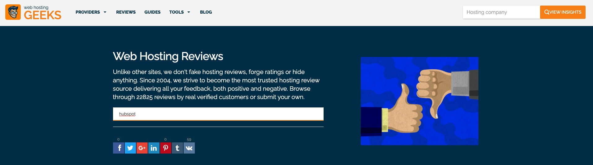homepage for a web hosting review website