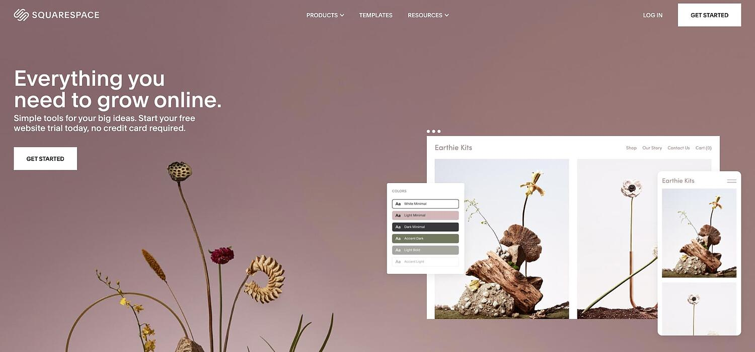 homepage for the web hosting provider Squarespace
