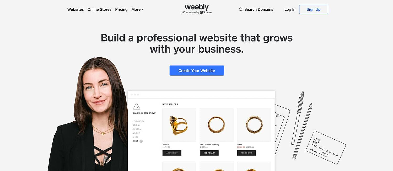 homepage for the web hosting provider Weebly