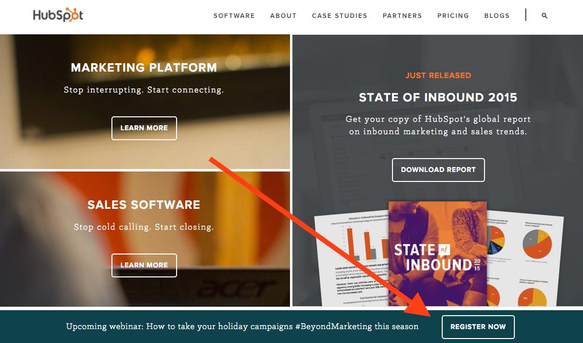 Homepage CTA on HubSpot promoting webinar