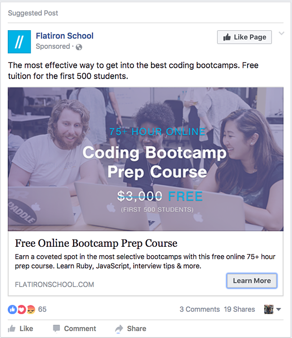how to give ad in facebook for free