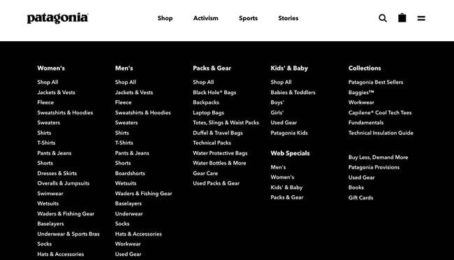 a mega navigation menu on the website for patagonia