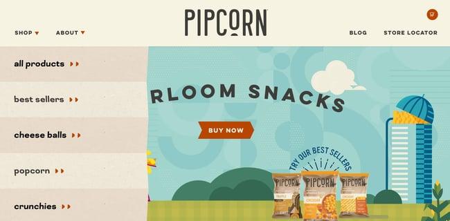 a dropdown navigation menu on Pipcorn's website