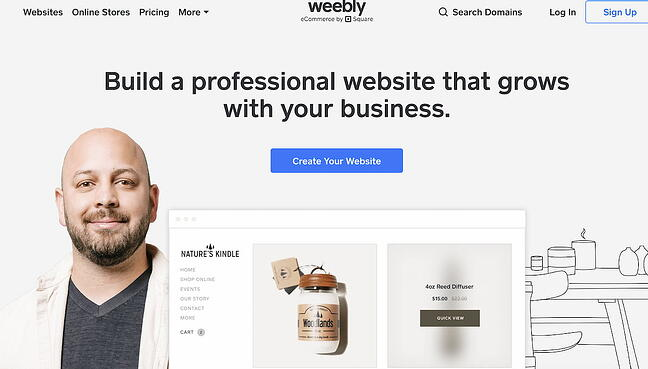 Weebly blog hosting site home page