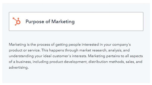 "example of a what blog post with the title of a concept ""purpose of marketing"" along with an explanation of that concept underneath"