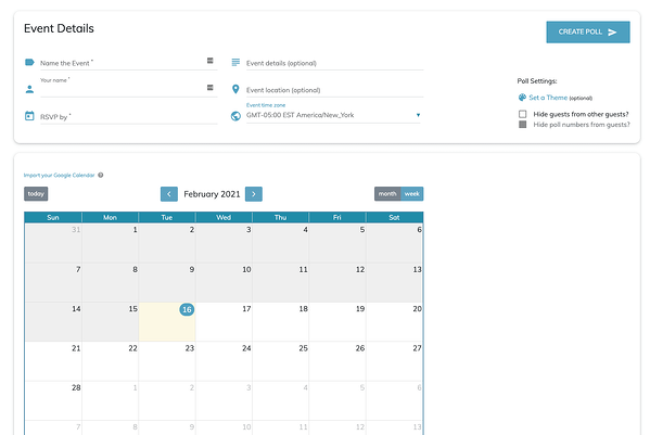 Whenavailable meeting poll creator on their website, with a calendar to choose meeting times