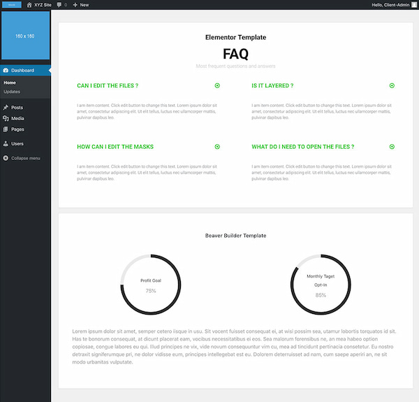 White Label CMS in dashboard view with information on its Elementor integration