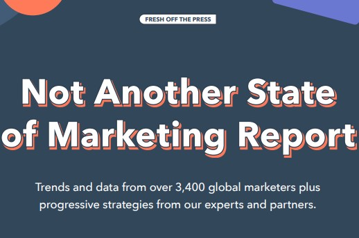 "whitepaper example from hubspot that reads: ""not another state of marketing report"""
