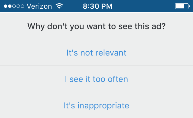 Question asking why you don't want to see ads in Instagram