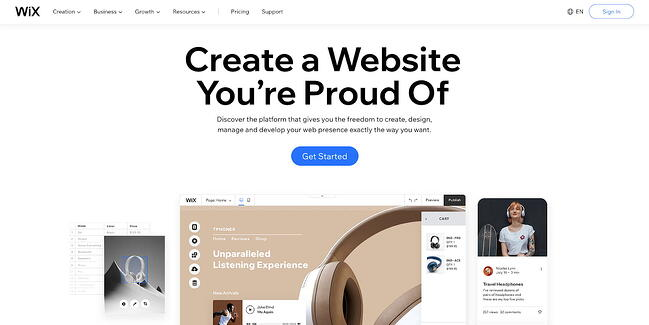 Wix blog hosting site home page