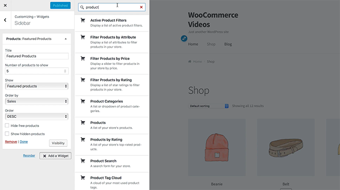 widgets on the woocommerce platform