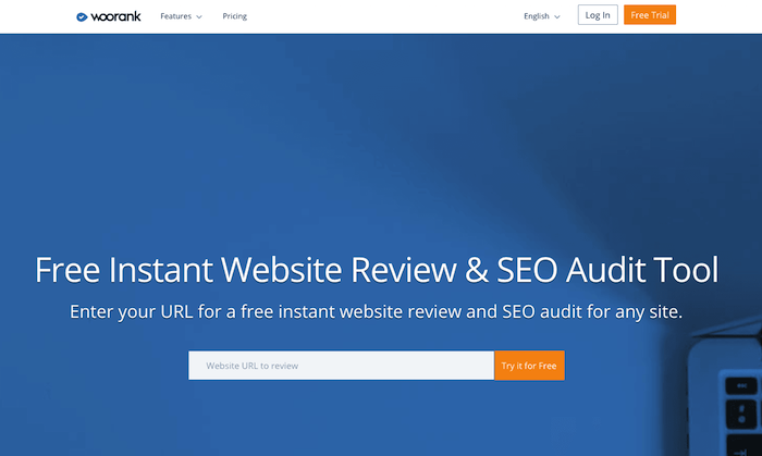 Woorank's homepage for auditing a website's SEO