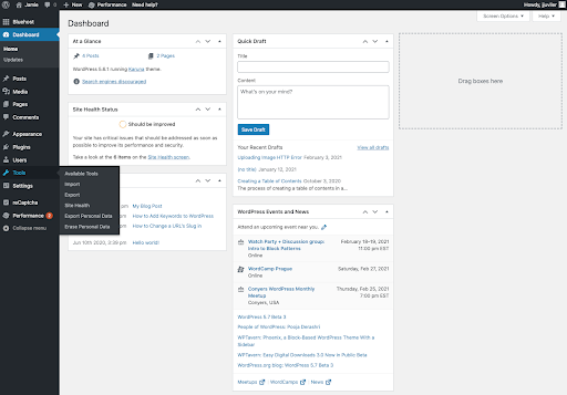 WordPress native admin area with standard colors