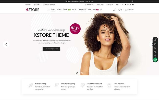 demo page for the wordpress ecommerce theme xstore