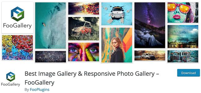 product page for the wordpress gallery plugin foogallery