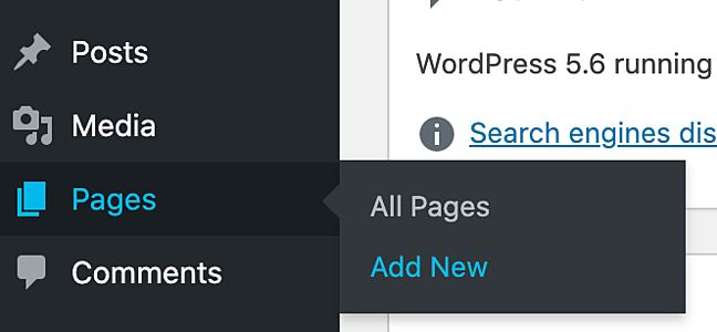 the dashboard menu on a wordpress website