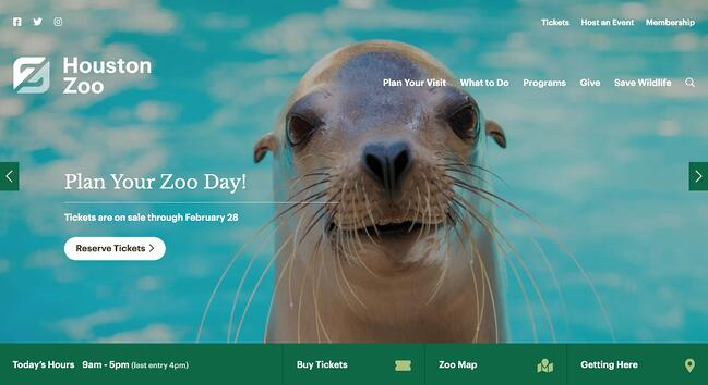 Homepage for the Houston Zoo's WordPress website