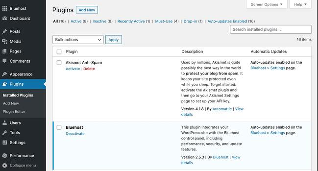 the plugins page on a wordpress website