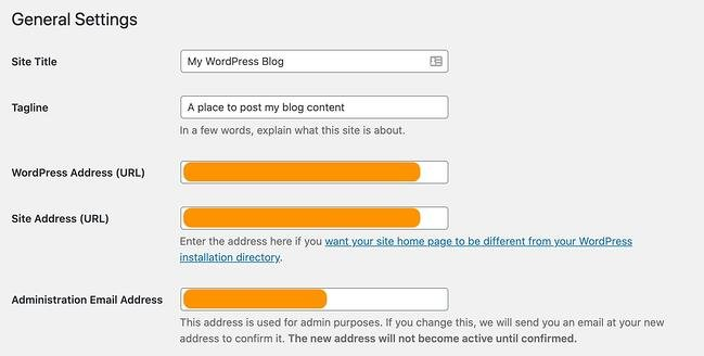 the general setting page on a wordpress website
