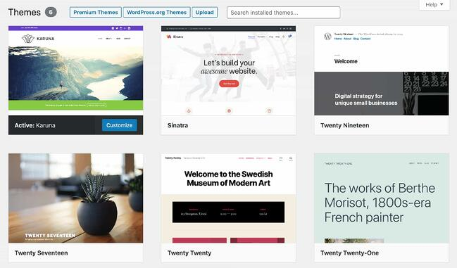 The topic selection page on a WordPress website